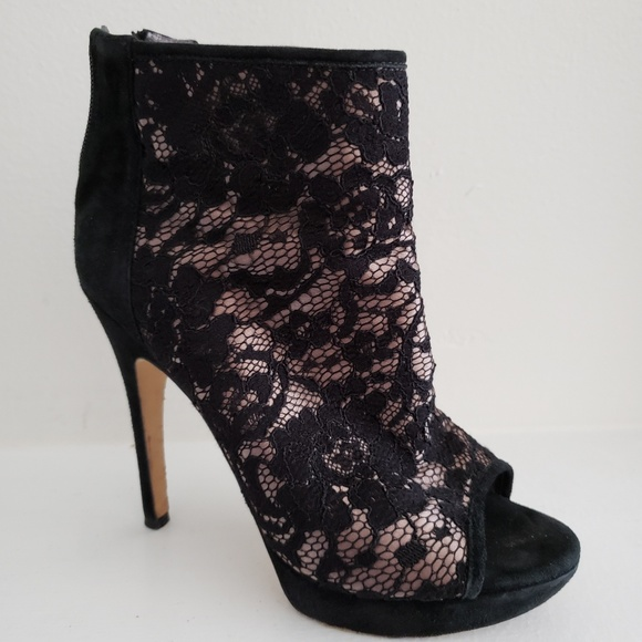 481388129 Via Spiga Shoes | Lace Peep Toe Booties Italy Size 65 | Poshmark